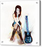 Girl With Blue Guitar Acrylic Print