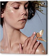 Girl With Butterfly In Hand Acrylic Print