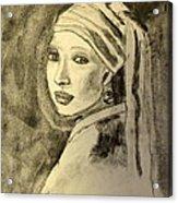 Girl With Earring Acrylic Print