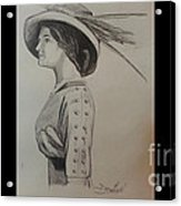 Girl With Feathered Hat Acrylic Print