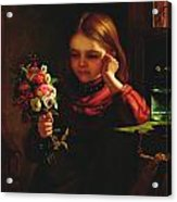 Girl With Flowers Acrylic Print by John Davidson