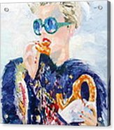 Girl With Glasses Eating Pretzel - Oil Portrait Acrylic Print