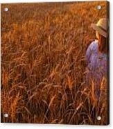 Girl With Hat In Field Acrylic Print