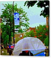 Girl With Large Umbrella Its Raining Its Pouring April Showers Montreal Scenes Carole Spandau Art Acrylic Print