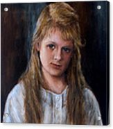 Girl With Long Brown Hair Acrylic Print