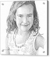 Girl With Necklace Pencil Portrait Acrylic Print
