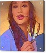 Girl With Sunglasses Acrylic Print