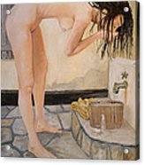 Girl With The Golden Towel Acrylic Print