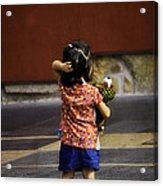 Girl With Toy Dog Acrylic Print