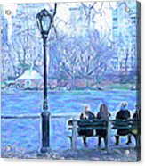 Girls At Pond In Central Park Acrylic Print