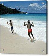 Girls On A Beach Acrylic Print