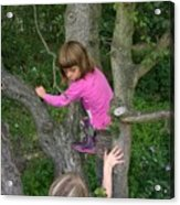Girls Playing In A Tree Acrylic Print