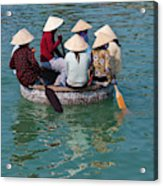 Girls With Conical Hats In Bamboo Acrylic Print