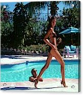 Gisele Bundchen Walking Poolside Acrylic Print