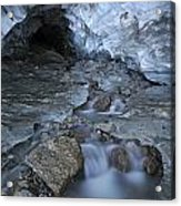 Glacial Creek Flowing From Blue Ice Acrylic Print