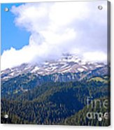 Glaciers In The Clouds. Mt. Rainier National Park Acrylic Print