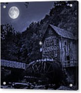 Glade Creek Grist Mill At Night Acrylic Print