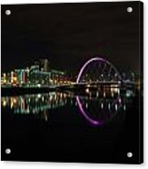 Glasgow Clyde Arc Bridge At Night Acrylic Print