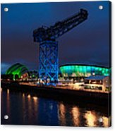 Glasgow - River Clyde At Night Acrylic Print