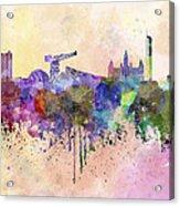 Glasgow Skyline In Watercolor Background Acrylic Print