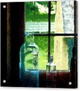 Glass Bottles On Windowsill Acrylic Print