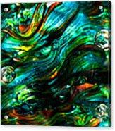 Glass Macro - Greens And Blues Acrylic Print