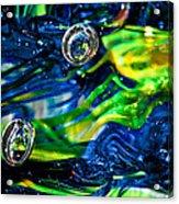 Glass Macro - Seahawks Blue And Green -13e4 Acrylic Print