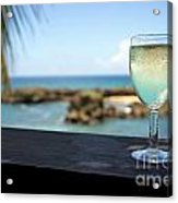 Glass Of Fresh Wine By Tropical Beach Acrylic Print