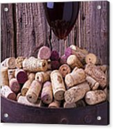 Glass Of Wine With Corks Acrylic Print
