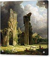 Glastonbury Abbey With The Tor Acrylic Print