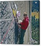 T-306607-glen Denny With Me On El Cap First Ascent 1962 Acrylic Print