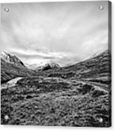 Glen Etive Road And River Acrylic Print by John Farnan