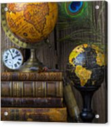 Globes And Old Books Acrylic Print
