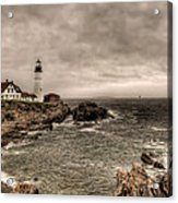 Gloomy Day At The Portland Head Light Acrylic Print