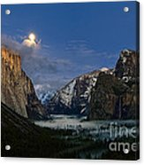 Glow - Moonrise Over Yosemite National Park. Acrylic Print