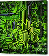 Glowing Green Circuit Board Acrylic Print by Amy Cicconi