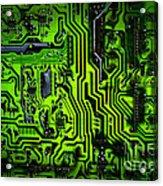 Glowing Green Circuit Board Acrylic Print