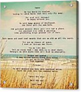 Glowing Soft Surf And Sand With Knots Poem Acrylic Print