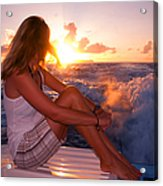 Glowing Sunrise. Greeting New Day  Acrylic Print
