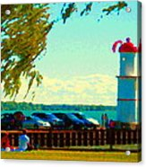 Go Fly A Kite Off A Short Pier Lachine Lighthouse Summer Scene Carole Spandau Montreal Art  Acrylic Print