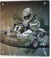 Go-kart Racing Grunge Monochrome Acrylic Print