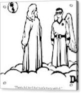 God Overlooks Earth Next To A Robin-like Angel Acrylic Print