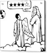 God To An Angel On A Cloud Overlooking Earth Acrylic Print