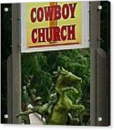 Gods Country Cowboy Church Acrylic Print