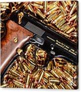 Gold 9mm Beretta With Brass Ammo Acrylic Print