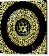 Gold And Black Stained Glass Kaleidoscope Under Glass Acrylic Print