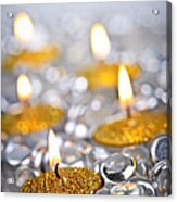 Gold Christmas Candles Acrylic Print