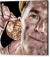 Gold Miner With Nugget Acrylic Print