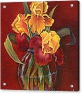 Gold N Red Iris Acrylic Print