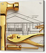 Gold Plated Tools And Blueprints Acrylic Print